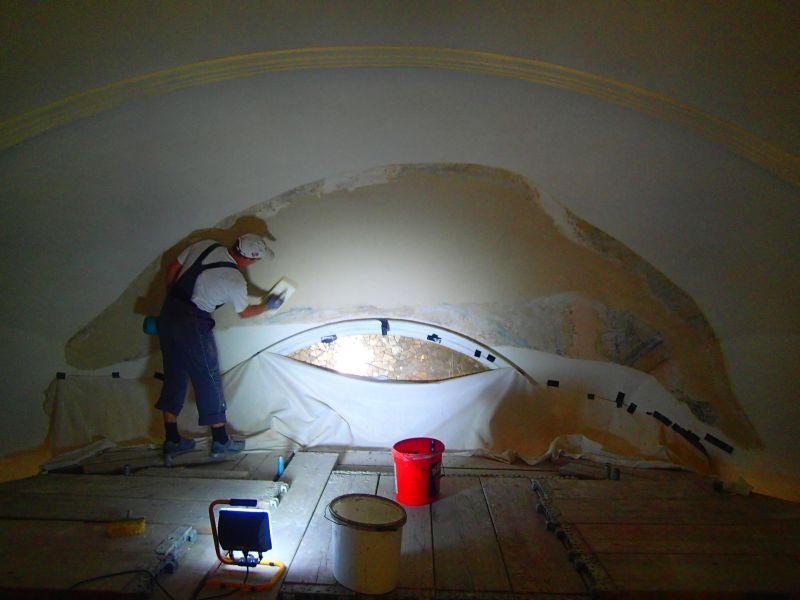 Renovierung der Kirche - Deckengewölbe. © Wolfgang Chalupsky