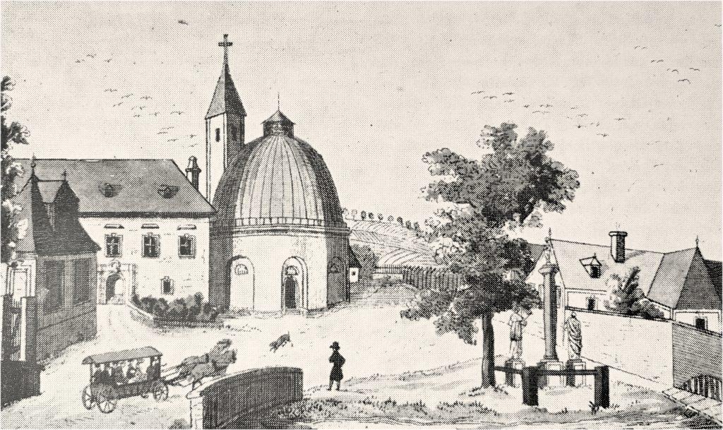 Dorfplatz mit Kirche, Schloß und Mühle, Federzeichnung von B. de Ben, 1820