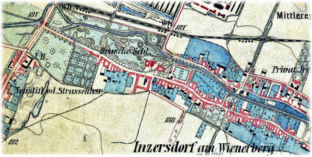 Plan von Inzersdorf am Wienerberge, 1872 (Ausschnitt)