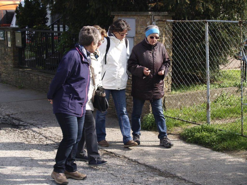 Pfarrmitglieder wandern die Pfarrgrenzen ab, hier auf der Straße. © Pfarre Neustift